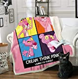 AJ WALLPAPER 3D Pink Naughty Panther 1290 Warm Plush Fleece Blanket Picnic Sofa Couch Quilt Bed US Sinsin (CustomSizeMessageUs)