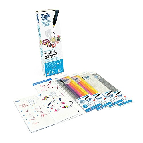 3Doodler Create 4 Pack Plastic Bundle with Party Decor Stencil, (3D Pen Not Included)