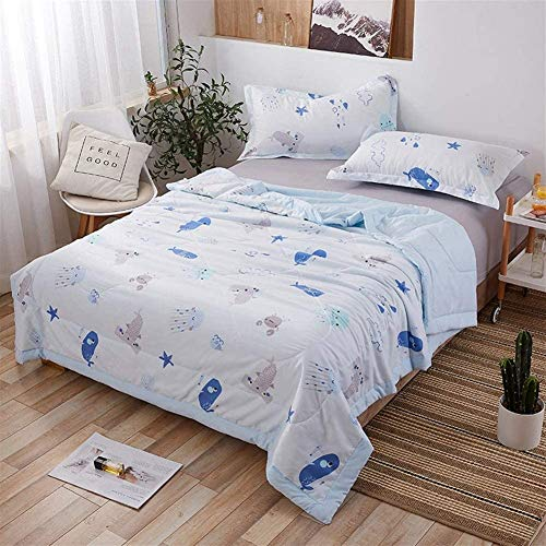 Blue Softness Antibacterial Machine Washable Quilt 100% Cotton Throws For Sofa Bed Blanket Throw Double/single Bed Heart Forest B (Color : D, Size : Double)