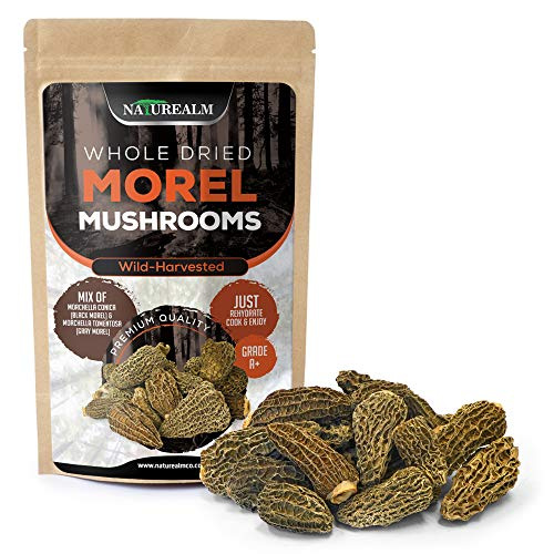Naturealm Morel Mushrooms Wild-Harvested in Canada, Grade A+ Premium Clean Whole Dried Morels in Compostable Bag - 2oz.