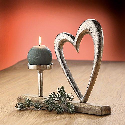 Herz Stand-Deko mit Kerzenhalter silber/natur - Gilde Handwerk