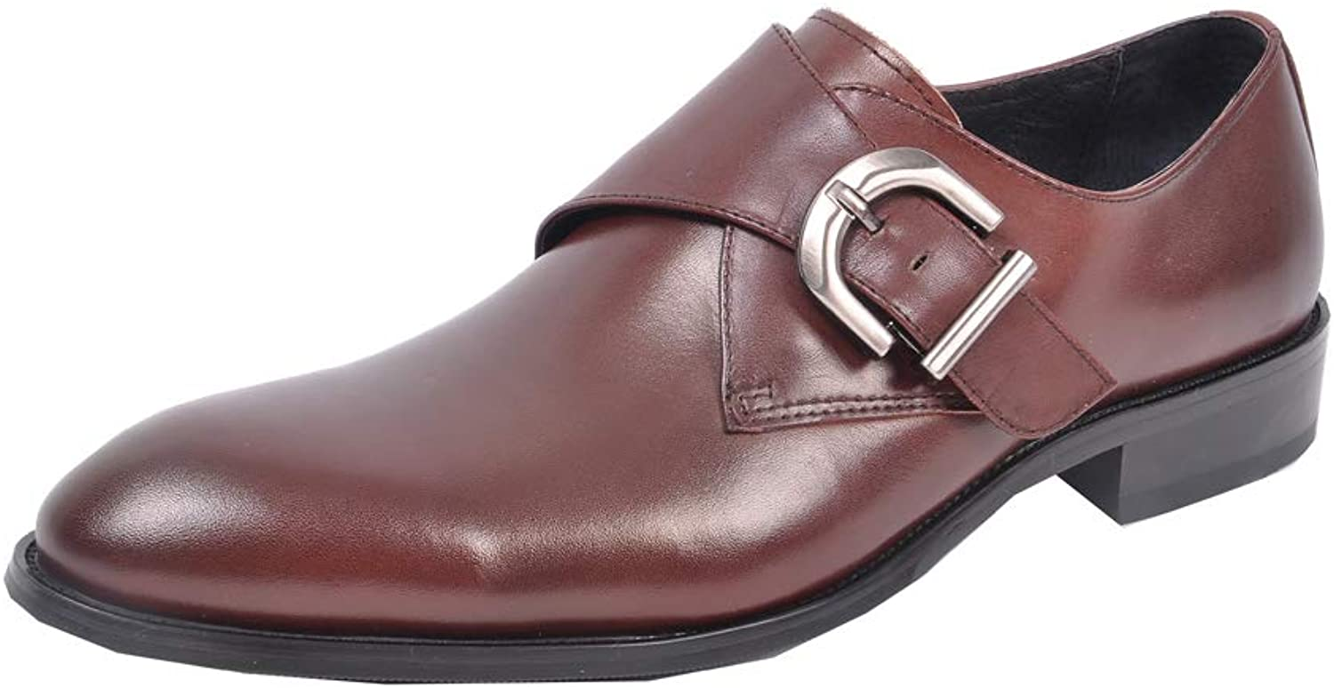 Dilize Men's Classic Monk Strap Oxford Slip on Formal Dress shoes