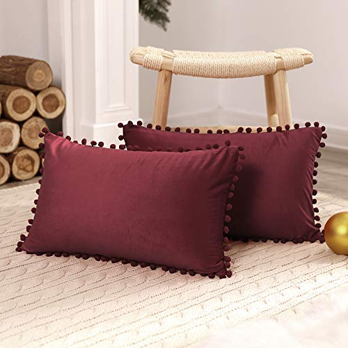 Deconovo Fundas de Almohadas Cojines Terciopelo Decorativas Hogar con Pelota para Sofás Dormitorio Pack de 2 30 x 50 cm Rojo Vino