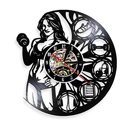 Gtllje Reloj de Pared para Mujer Muscular Ejercicio círculo Inspirador Levantamiento de Pesas diseño Moderno decoración Gimnasio Culturismo Femenino Reloj de Disco de Vinilo 30x30 cm