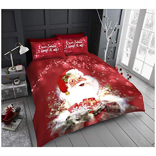 Gaveno Cavailia Easy Care Luxury Xmas Santa with Presents Duvet Cover Quilt Set, Premium Soft & Cosy Christmas Bed Set, King Size, Red