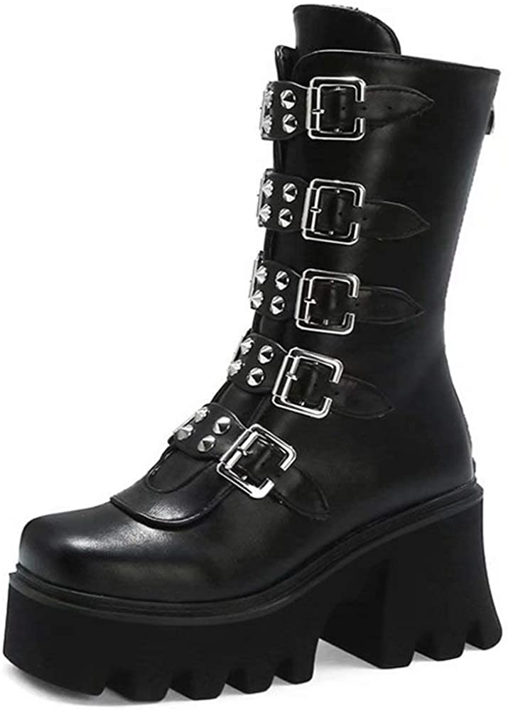 Platform Rivet Boots for Women Studded Mid Calf Combat Boots Chunky High Heel Booties Round Toe Black Goth Boots with Buckle