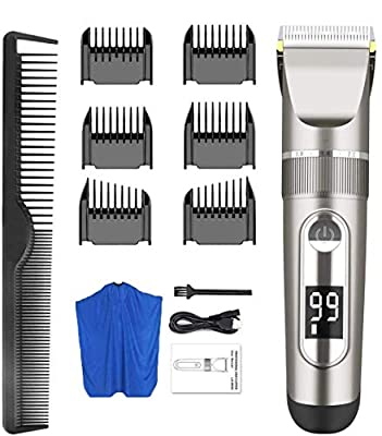 Hair Clippers, IGYLAR Professional Cordless Clippers Hair Trimmer Beard Shaver Electric Haircut Kit IPX7 Waterproof USB Rechargeable LED Display Beard Trimmer for Men and Family Use