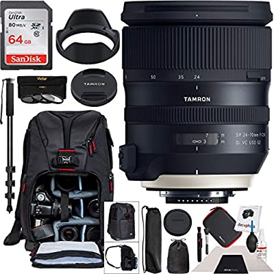 Tamron SP 24-70mm f/2.8 Di VC USD G2 Lens for Nikon F Mount Camera AFA032N-700 with 82mm Deluxe Filter Kit and Deco Gear Photography Backpack Pro Bundle from Tamron