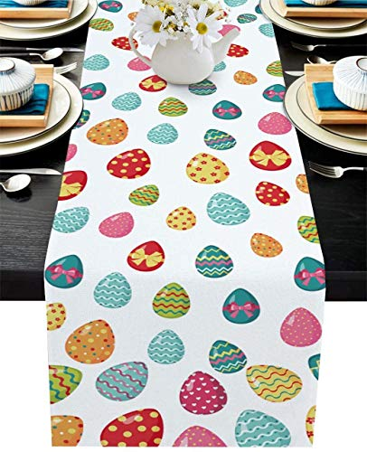 Easter Table Runner Rabbit Colorful Eggs Easter Decorations Double Sided Rabbit for Holiday and Spring Farmhouse Kitchen Table Runners for Home Dinner Wedding Holiday Parties(Easter TYPE2,14x72)