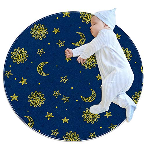 Kitchen Rugs Non Skid Washable Circle Rug Round Bath mat Kids Bedroom Rug,Space Sun Star Moon Pattern