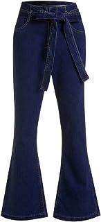 AOGOTO Womens Allacciatura Vita Alta Stretch Jeans Classici Butt Lift Straight Bell-Bottomed Pantaloni