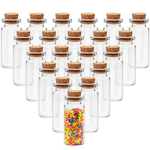 BELLE VOUS Glasfläschchen mit Korken (36 Stück) - 20ml kleine Glasflaschen im Antik Stil - Fläschchen mit Korken für Nachricht Flasches, Hochzeit Deko, DIY Basteln