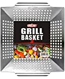 GRILLART Grill Basket for Vegetables & Meat – Large Grill Wok/Pan for the Whole Family - Heavy Duty Stainless Steel Veggie Grilling Basket Built to Last - Best BBQ Accessories for All Grills & Smokers