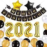 Lishang 37 Piezas Decoracion Graduacion 2021 Suministros Fiesta Globos Graduación con Banner Globo Negro y Dorado 2021 Globo Papel Aluminio (37 piezas)