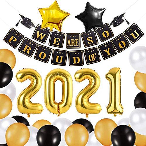 Lishang 37 Pezzi Laurea Decorazioni Festa 2021 Congrats Graduation Palloncino Oro e Nero We Are So Proud of You Banner Palloncini Foglio Alluminio Party Supplies (37 pezzi)