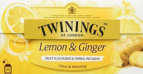 Twinings Lemon & Ginger Tee, Eine pikante Mischung mit feinstem Zitronen- und Ingwergeschmack, die Sie in prickelnde Stimmung versetzt. 25 Teebeutel x 1,5g, 37,5g, Tea 3er Pack (3 x 38 g)