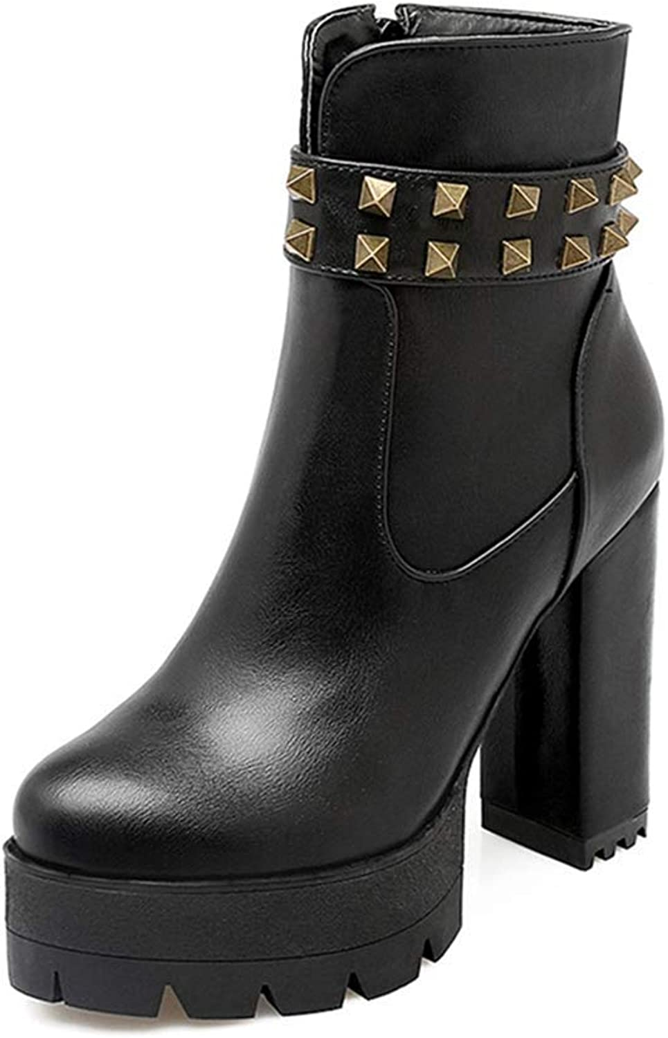 KEREE Women's Platform Chunky High Ankle Boots Waterproof Round Toe Rivets Zipper Block Heeled Short Bootie