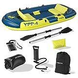 Hoberg 4-Sitzer Schlauchboot YPP-4' | Für 4 Personen | Inkl. 2 Sitzbänken, 2 Paddel, Pumpe & weiterem Zubehör | 322 x 165 cm [bis 360 kg Belastung]