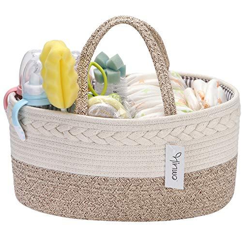 Hinwo Baby Pannolino Caddy 3 scomparti Infanzia Nursery Tote Storage Bin Organizer per auto portatile Doccia neonato Cesto regalo Corda di cotone con divisore rimovibile per pannolini e salviette