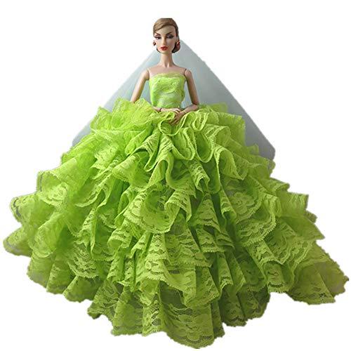 Mobby Splendido Abito da Sposa Fatto a Mano Moda Abito da Sposa Set per Bambole Barbie, Vestiti Principessa Perfetto per Il Regalo delle Ragazze (H)
