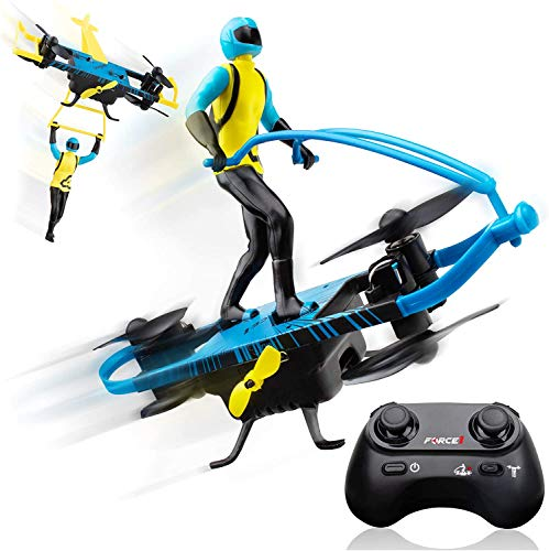 Force1 Stunt Rider RC Mini Drone for Kids - Remote Control Indoor Beginner Drone Flying Toy with Multiple Flying Modes and Action Figure Toy