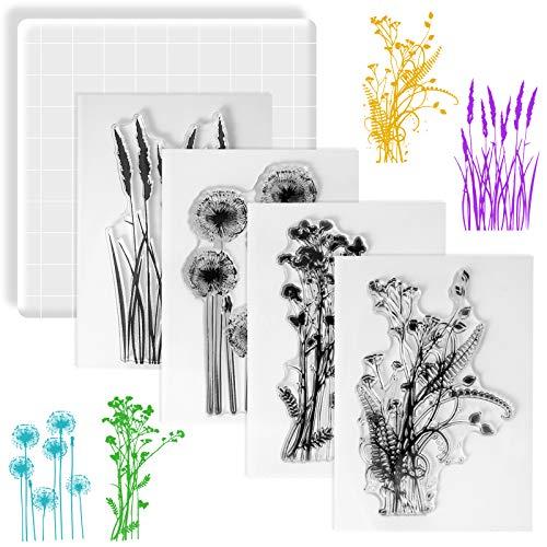 Huanchenda Sello Transparente de Silicona, 4 Piezas de Sello de Patrón Floral con Bloque Acrílico para DIY Scrapbooking �lbum Fotos