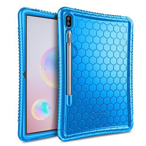 Fintie Funda de Silicona para Samsung Galaxy Tab S6 10.5' 2019 (SM-T860/T865) - [Honey Comb Series] Carcasa Ligera de Silicón Antideslizante para Niños a Prueba de Golpes, Azul