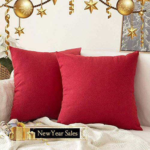 MIULEE 2er Pack Home Dekorative Leinen-Optik Kissenbezug Kissenhülle Kissenbezüge für Sofa Schlafzimmer Auto mit Reißverschlüsse 40x40 cm Rot