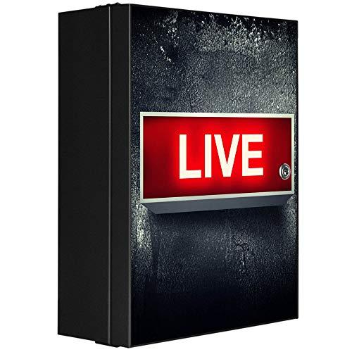 banjado XXL Medizinschrank abschliessbar   großer Arzneischrank 35x46x15cm   Medikamentenschrank aus Metall grau   Motiv Live mit 2 Schlüsseln   Gestaltung auf Front