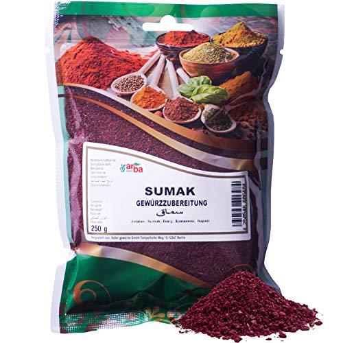 Arba Gewürze - Sumak (Sumach) 250g - orientalisches Gewürz-Pulver aus getrockneten Sumachfrüchten, zum Kochen & Würzen, fruchtig-sauer, fein gemahlen, Premium-Gewürz (250g)
