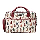Signare Tapestry White and Red Computer Laptop Notebook Bag 15.6 inch in Cheeky Cat (CPU-CHEKY), Medium