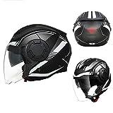 JTYX 3/4 Half Helmet Open-Face Motorcycle Helmet Modular Adult Anti-Fog Double Visor Flip-Up Motorbike Helmets Men Women Motocross Helmet Jet Helmet for Motorcycle Scooter Moped, DOT/ECE Approved