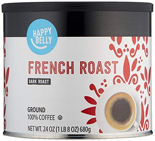 Amazon Brand - Happy Belly French Roast Canister Coffee, Dark Roast, 24 Ounce