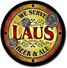 ZuWEE Brand Beer & Ale Coaster Set Personalized with the Laus Family Name