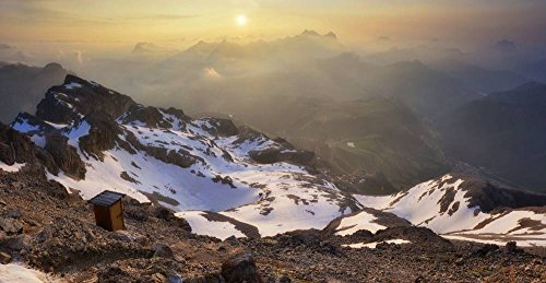 Kunstdruck/Poster: Andrea Auf dem Brinke The Most Panoramic WC in The World 3253 Mt high - hochwertiger Druck, Bild, Kunstposter, 95x50 cm