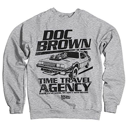 Back To The Future Offizielles Lizenzprodukt Doc Brown Time Travel Agency Sweatshirt (Heather Grau) Large