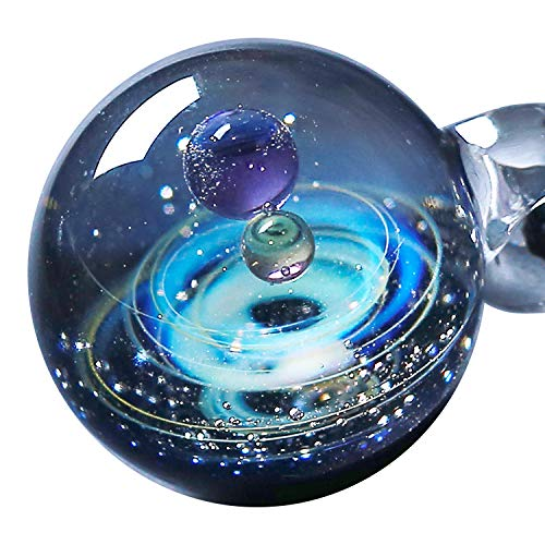 Pavaruni Original Galaxy Pendant Necklace, Universe Glass Accessories, Space Cosmos Design,Birthday (Apollo)