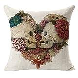 Cushion Cover 18 x 18 , Rcool Skull Flower Linen Decorative Pillow Case