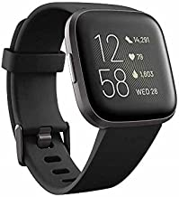 Fitbit Versa 2 Health and Fitness Smartwatch with Heart Rate, Music, Alexa Built-In, Sleep and Swim Tracking, Black/Carbo...