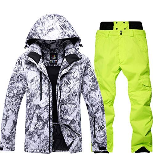 SKTWOE Trajes De Esquí para Hombres Conjunto De Trajes De Snowboard A Prueba De Viento A...