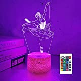 Lampeez Kids 3D Ballerina Night Light Ballet Dancer Optical Illusion Lamp with 16 Colors Remote Control Changing Birthday Xmas Valentine's Day Gift Idea for Boys and Girls