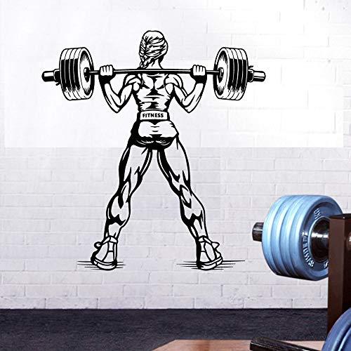 Gimnasio Fitness Deportes Levantamiento de pesas Barbell Músculo Mujer Inspirador Etiqueta de la pared Vinilo Arte Calcomanía Dormitorio Sala de estar Sala de entrenamiento Club de culturismo Dec