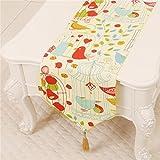 TREE- Dibujos animados lindos pájaro de tela de mesa corredores, mesa de tela de té tabla de tela decoración del hogar (Tamaño : 33 * 230cm)