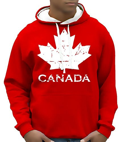 Coole-Fun-T-Shirts Canada Vintage NEU AHORN Kapuzensweater Kanada BICO-ROT GR.S