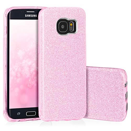 QULT Carcasa para Móvil Compatible con Funda Samsung Galaxy S7 Edge Silicona Gel Dura Bumper Teléfono Brillar Purpurina Pink Caso para G935F Samsung S7 Edge Rosa