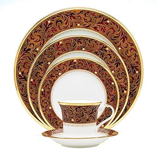Noritake Xavier Gold 5-Piece Place Dinnerware Setting in Brown/Orange/Red