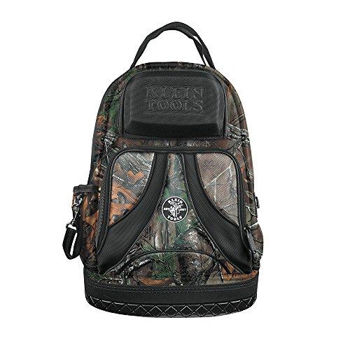 Klein Tools 55421BP14CAMO Tool Bag Backpack, Heavy Duty Tradesman Pro Tool Organizer / Tool Carrier has 39 Pockets, Molded Base, Camo Design