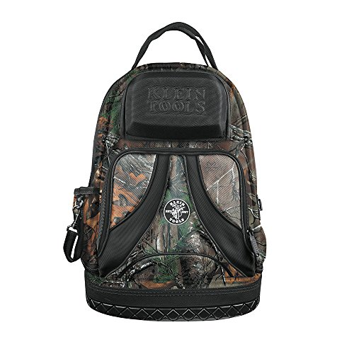 Klein Tools 55421BP14CAMO Tool Bag Backpack, Heavy Duty Tradesman Pro Tool Organizer / Tool Carrier has 39 Pockets, Molded Base, Camo Design