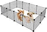 Ansley&HosHo Metal Pet Playpen for Small Dogs Cats Including 12 Panels, Portable Small Animal Wire Cage DIY for Indoor yd Fence for Guinea Pigs, Rabbits Kennel Crate Fence