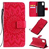 Cfrau Kickstand Wallet Case with Black Stylus for Samsung Galaxy A51,Retro Mandala Sunflower PU Leather Magnetic Flip Folio Stand Soft Silicone Card Slots Case with Wrist Strap - Red